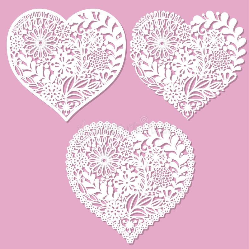 Un ensemble de coeurs à jour avec des fleurs Pour la coupe de laser illustration libre de droits