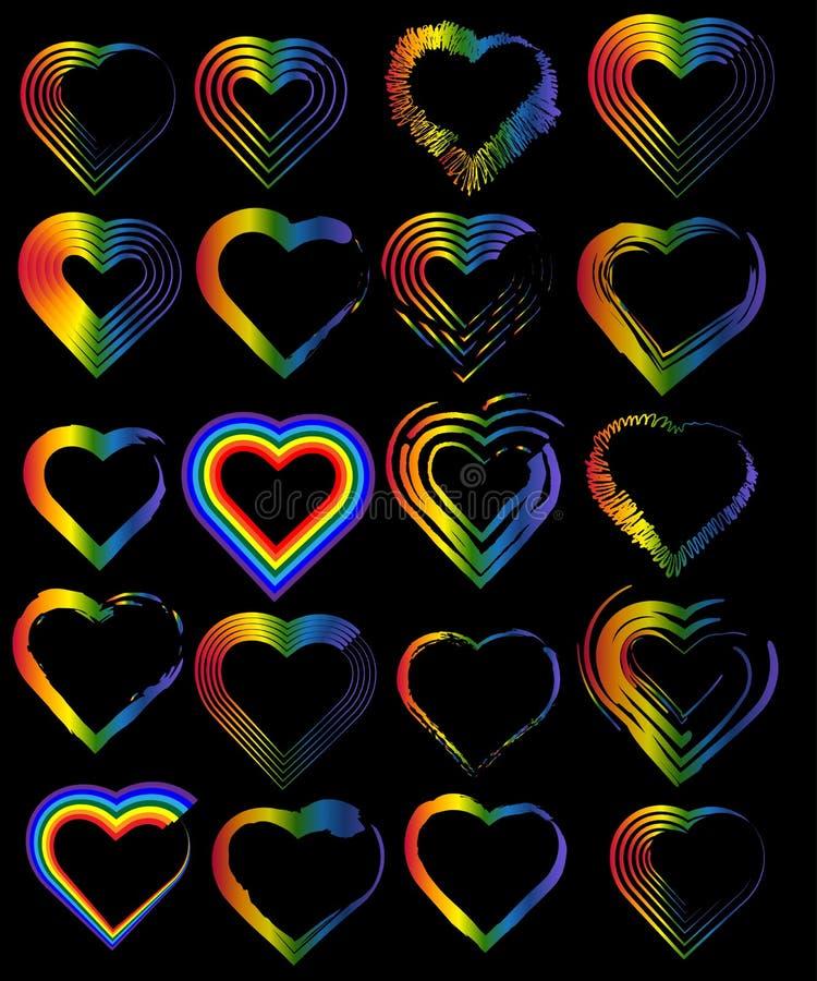 Un ensemble de coeurs d'arc-en-ciel Le concept de la liberté pour choisir un associé pour des relations, homosexualité Insignes d illustration stock