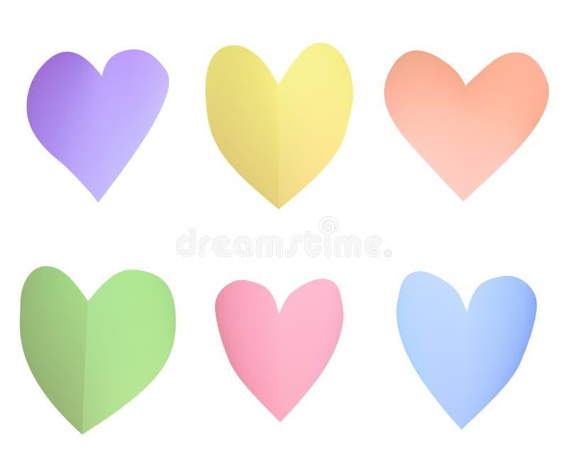 Un ensemble de coeurs de papier en pastel multicolores illustration libre de droits
