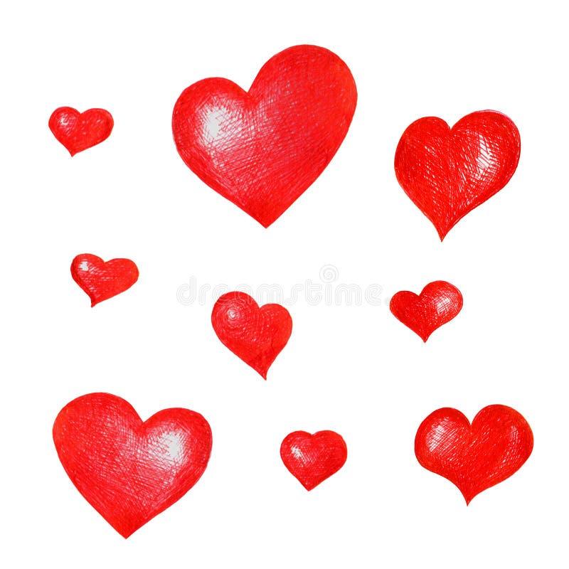 Un ensemble de coeurs tirés par la main rouges pour la conception, composition, salutations illustration libre de droits