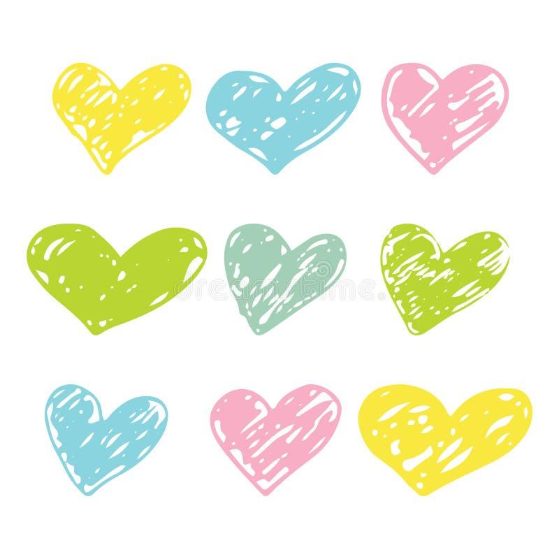 Un ensemble de courses tirées par la main de brosse de coeurs Conception colorée d'encre pour le T-shirt, robe, tissus illustration de vecteur