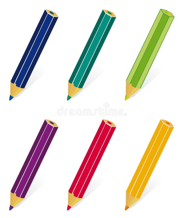 Un ensemble de crayons colorés illustration libre de droits