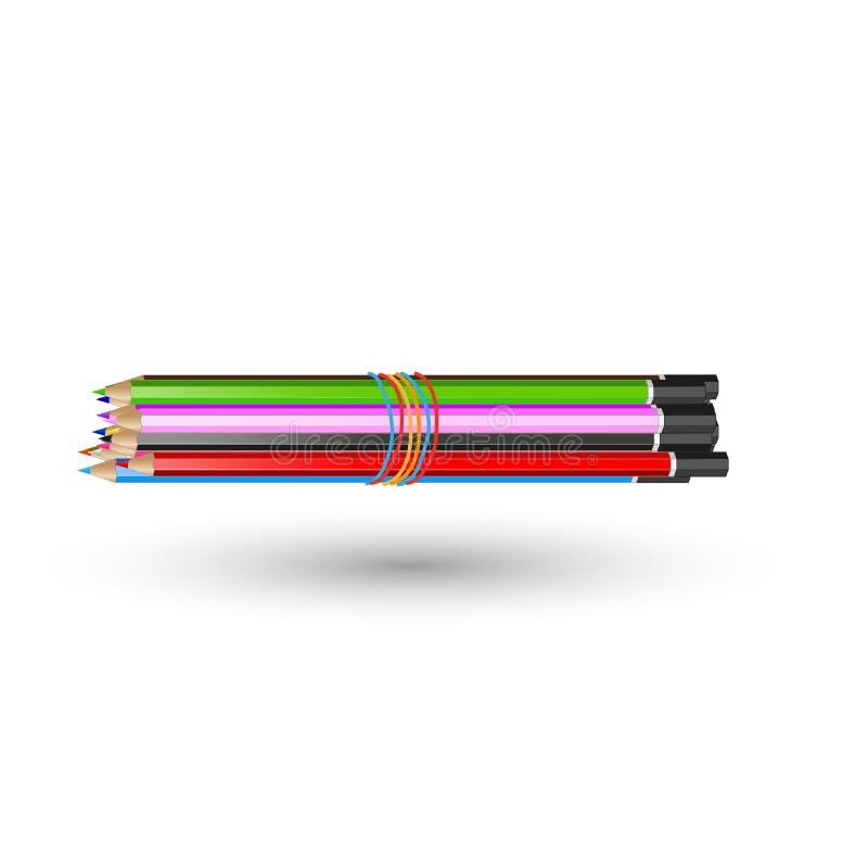 Un ensemble de crayons colorés s'est relié à une bande élastique illustration libre de droits
