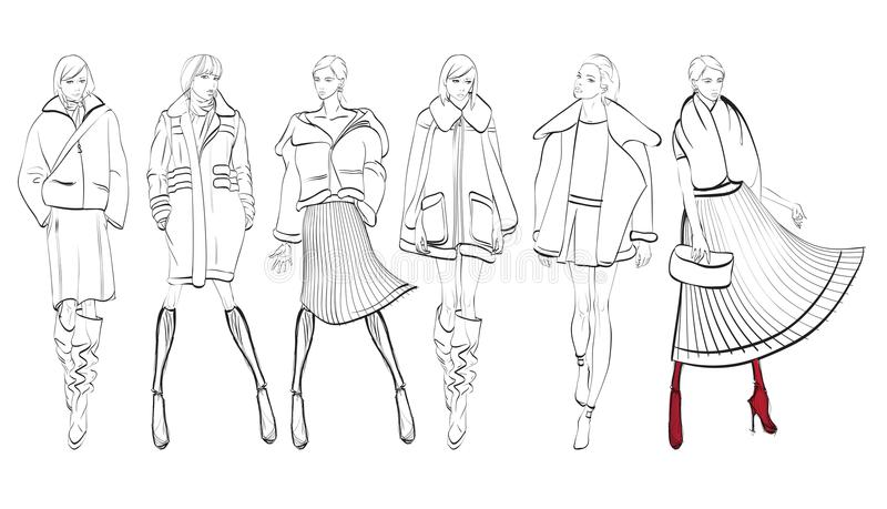 Un ensemble de croquis à la mode illustration stock