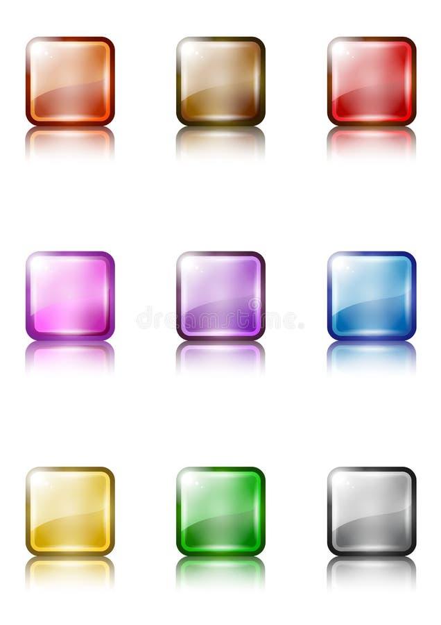 Un ensemble de descripteurs colorés de bouton de Web illustration libre de droits