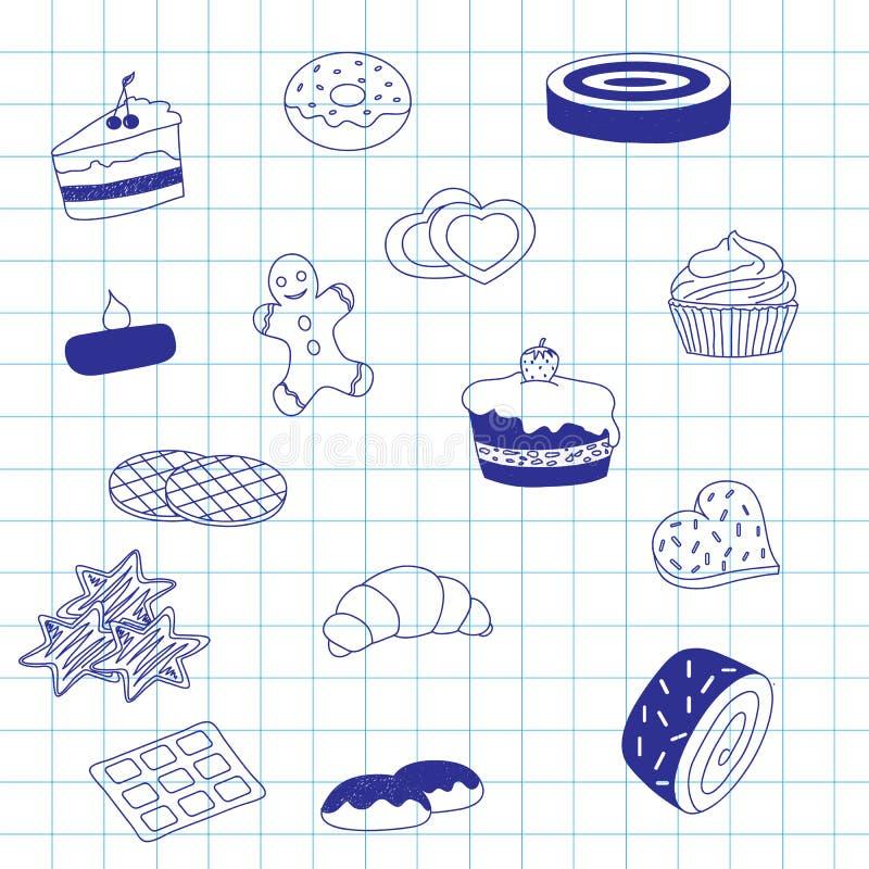 Un ensemble de desserts doux, croquis pour un fond illustration stock