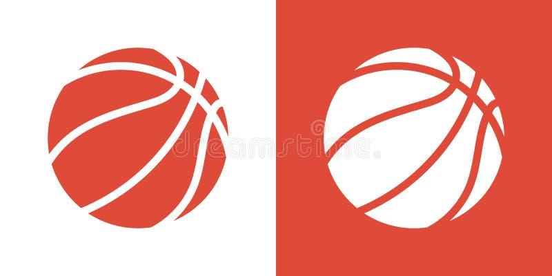 Un ensemble de deux variantes des icônes simples de boule de basket-ball Sur le blanc et sur un fond orange illustration stock