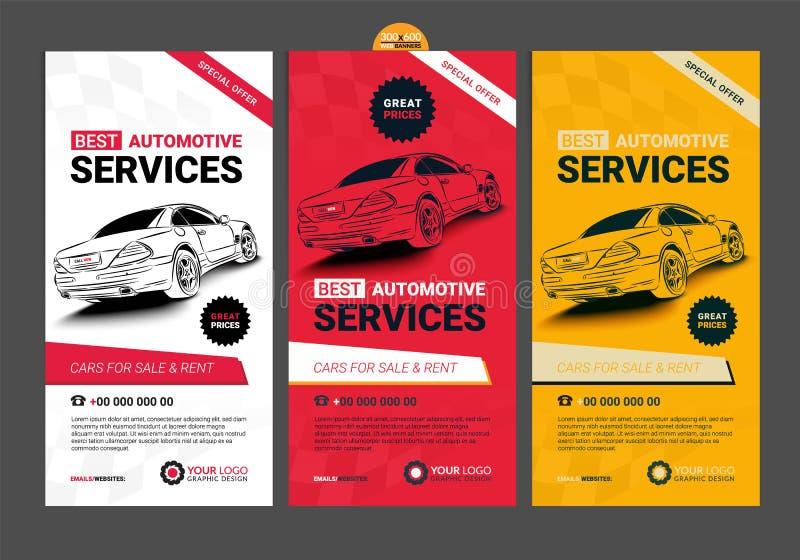 Un ensemble de dispositions des véhicules à moteur de collection de bannières de services de Web illustration stock
