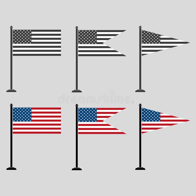 Un ensemble de drapeaux américains de différentes formes, colorés et gris illustration de vecteur
