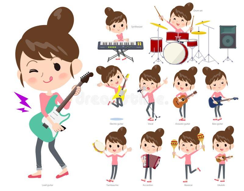 Un ensemble de femmes jouant le petit pain et la musique pop de ` du ` n de roche Il y a d'Al illustration libre de droits