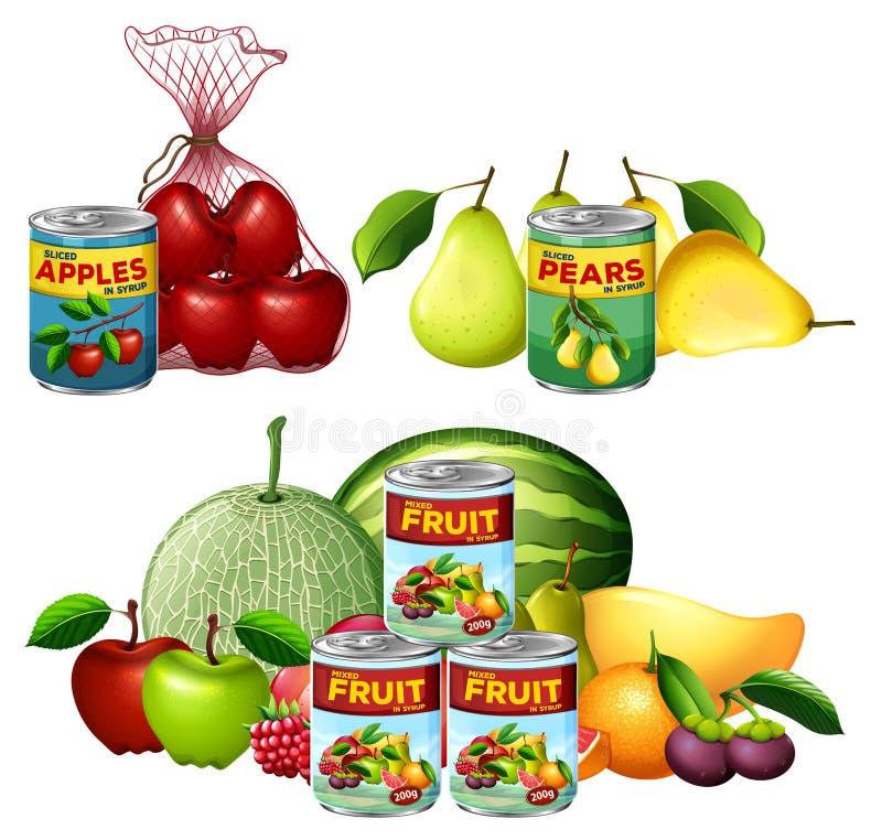 Un ensemble de frais et conserve de fruits illustration stock