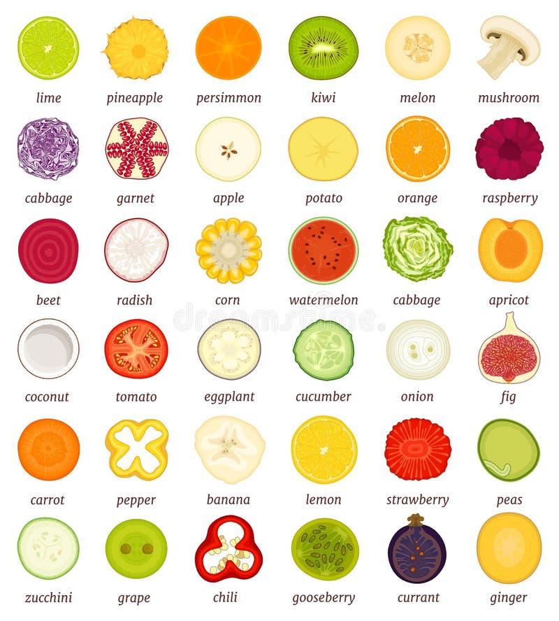 Un ensemble de fruits et légumes dans la coupe Illustration de vecteur illustration stock