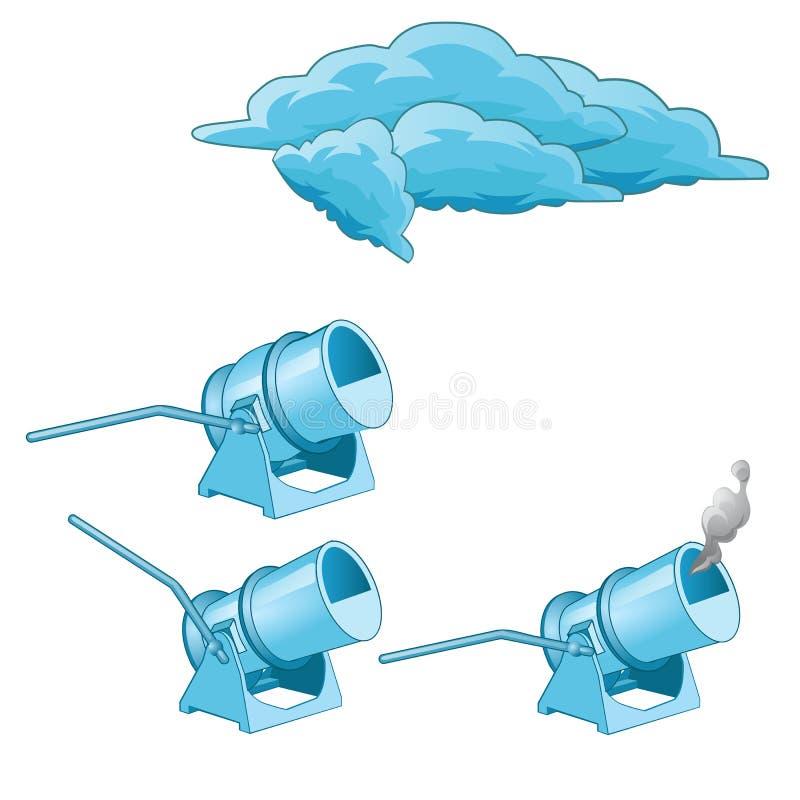 Un ensemble de générateurs de fumée et de nuages d'isolement sur le fond blanc Illustration de plan rapproché de bande dessinée d illustration stock