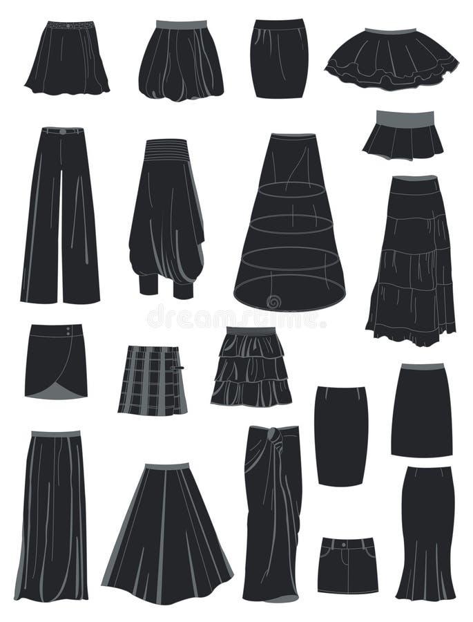 Un ensemble de jupes illustration de vecteur