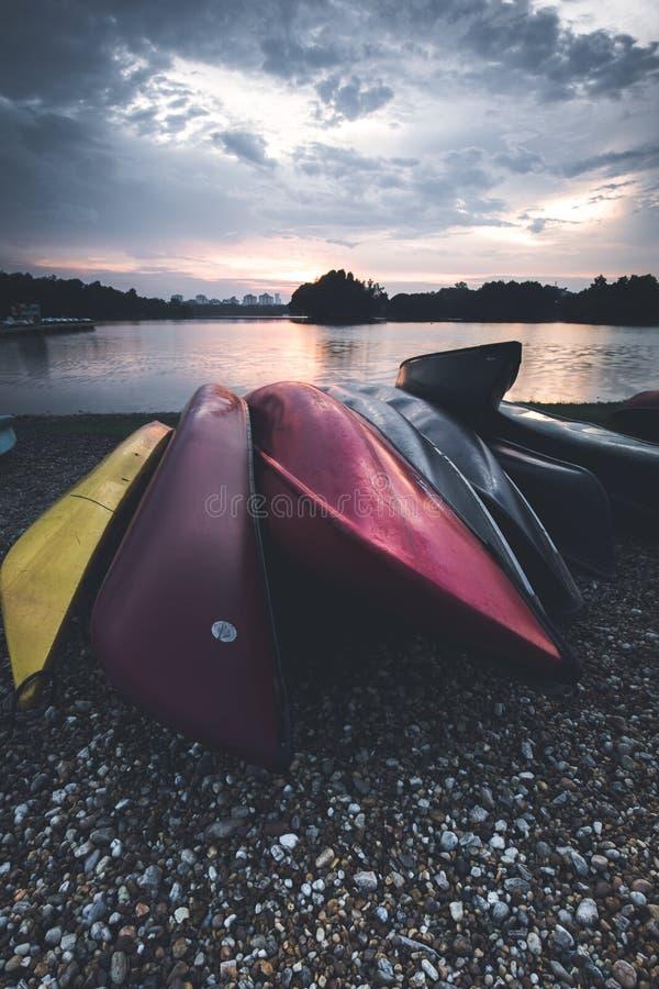 Un ensemble de kayaks colorés sont donnés pour des personnes pour employer au parc images libres de droits