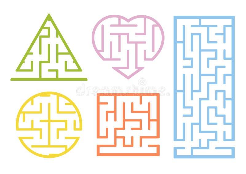 Un ensemble de labyrinthes Type de dessin animé Fiches de travail visuelles Page d'activité Jeu pour des gosses Puzzle pour des e illustration stock