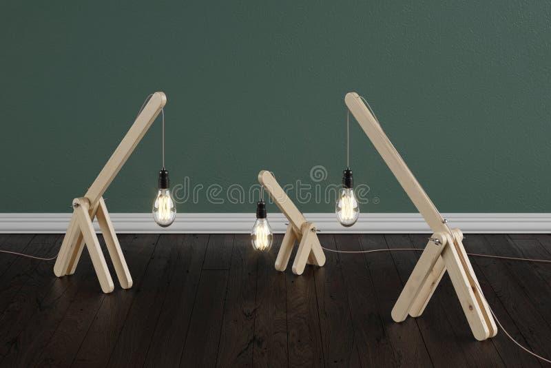 Un ensemble de lampes en bois faites main dans la chambre sur un plancher de brun sombre avec les murs vert-foncé illustration libre de droits