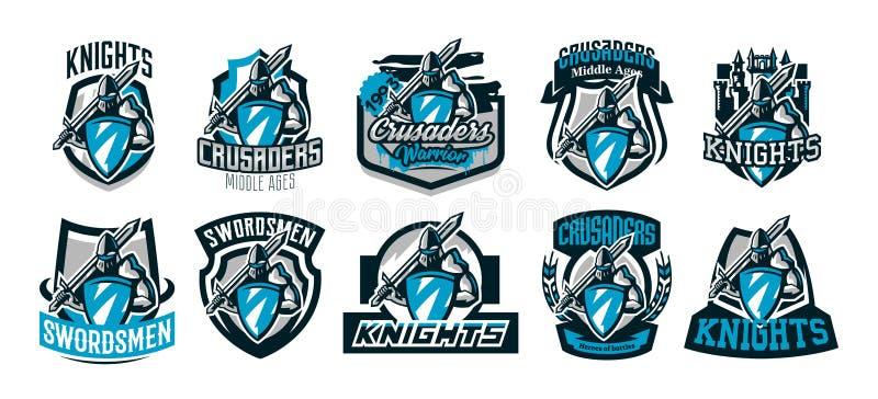 Un ensemble de logos colorés, emblèmes d'un chevalier dans l'armure de fer Chevalier des Moyens Âges, bouclier, guerrier, épéiste photographie stock