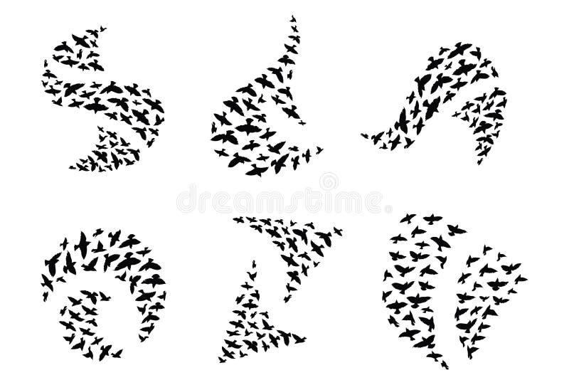 Un ensemble de logos des silhouettes de vol des oiseaux Logo de collection avec une volée des oiseaux Illustration de vecteur illustration de vecteur