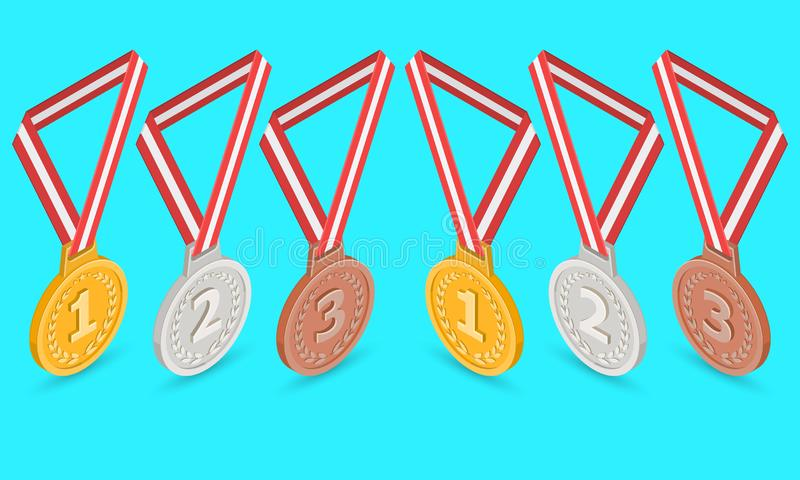 Un ensemble de médailles pour la récompense illustration libre de droits