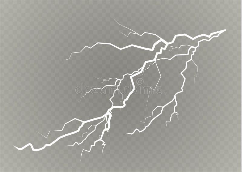Un ensemble de magie de foudre et d'effets de la lumière lumineux Illustration de vecteur Courant électrique de décharge Courant  illustration de vecteur
