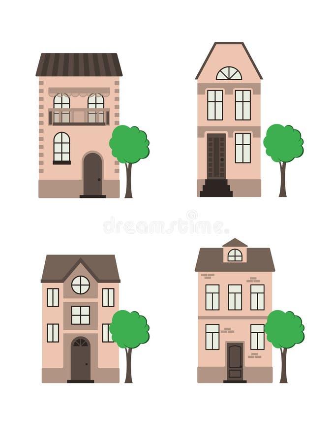 Un ensemble de maisons illustration de vecteur