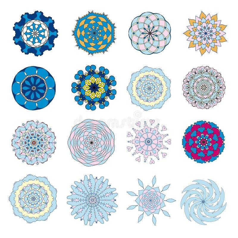 Un ensemble de mandalas colorés illustration de vecteur