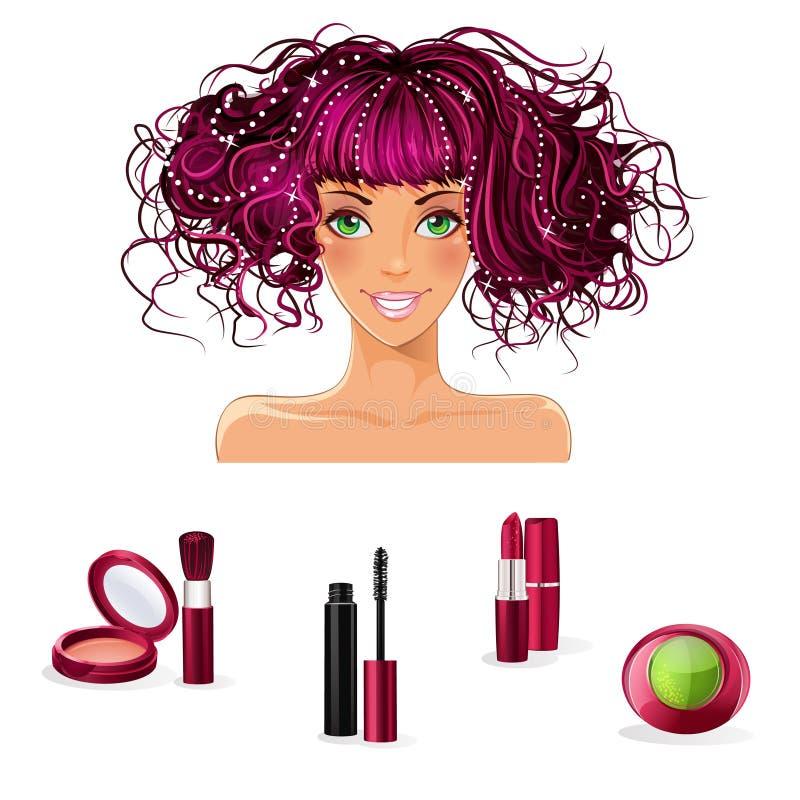 Un ensemble de maquillage pour des filles avec les yeux verts illustration stock