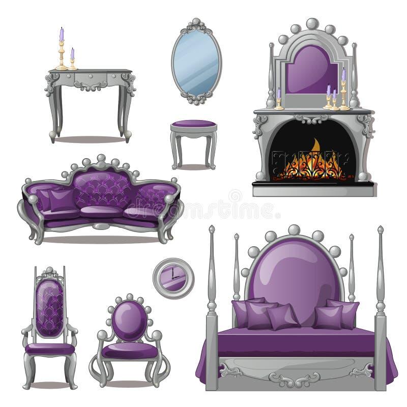 Un ensemble de meubles et d'accessoires pour l'intérieur de salon dans gris et pourpre Type de cru Illustration de vecteur illustration de vecteur