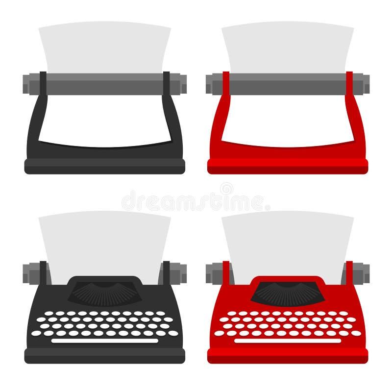 Un ensemble de meubles pour le lieu de travail l'avant et l'arrière de machine à écrire dans différents styles dirigent l'illustr illustration libre de droits