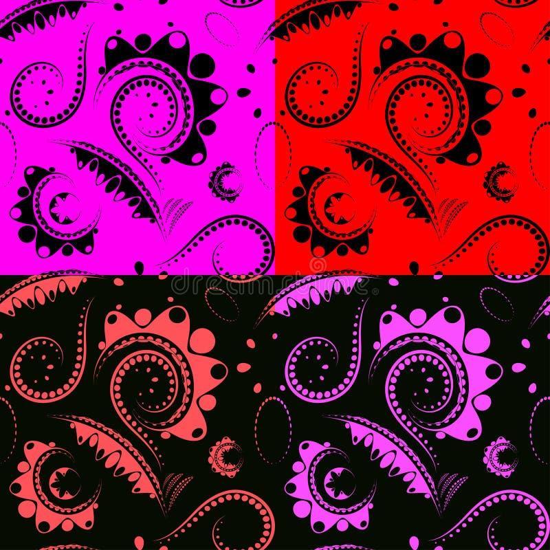 Un ensemble de nuances lumineuses des fleurs et des p?tales d?coup?s rouge fonc? et noirs illustration libre de droits