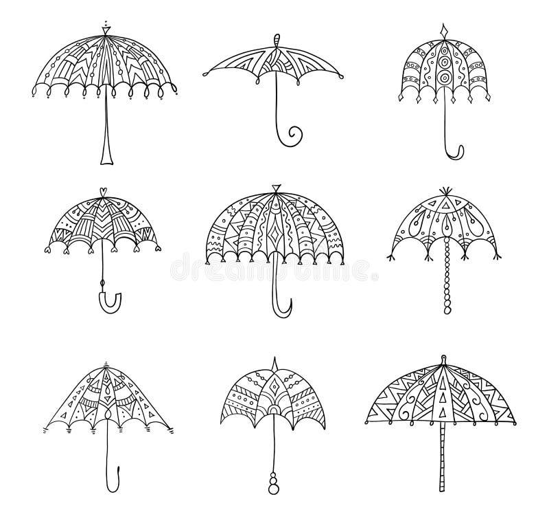 Un ensemble de parapluies de griffonnage de vecteur Éléments de conception illustration stock