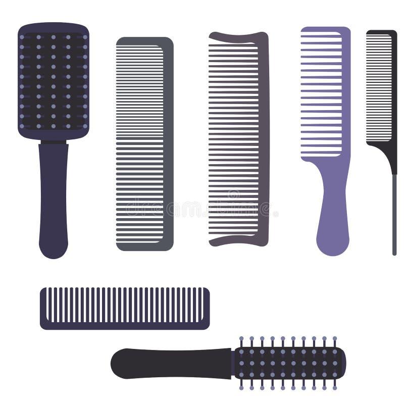 Un ensemble de peignes et de brosses professionnels de massage pour des cheveux Différents articles pour peigner des cheveux illustration stock