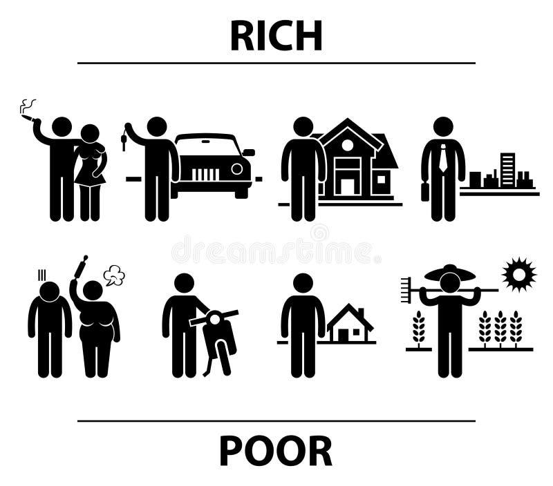 Concept financier de différences d'homme riche et pauvre illustration libre de droits