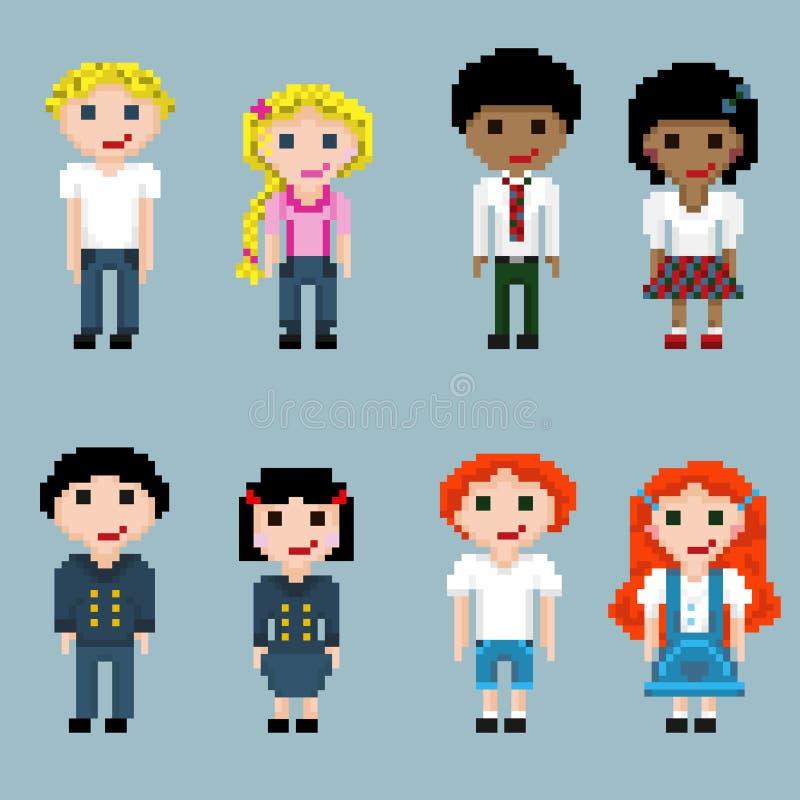 Un ensemble de personnes de pixel dans les paires illustration libre de droits