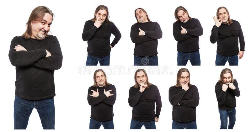 Un ensemble de photos d'un homme d'une cinquantaine d'ann?es dans diverses poses et ?motions Un collage de d'isolement sur les fo image stock