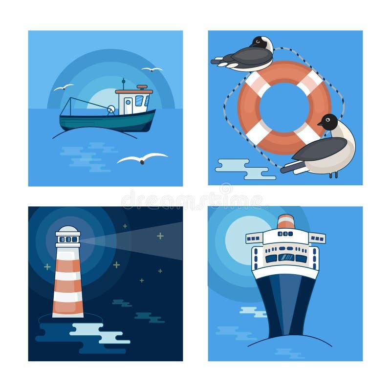 Un ensemble de 4 photos sur le thème de la mer et les bateaux, mouettes et un phare illustration stock