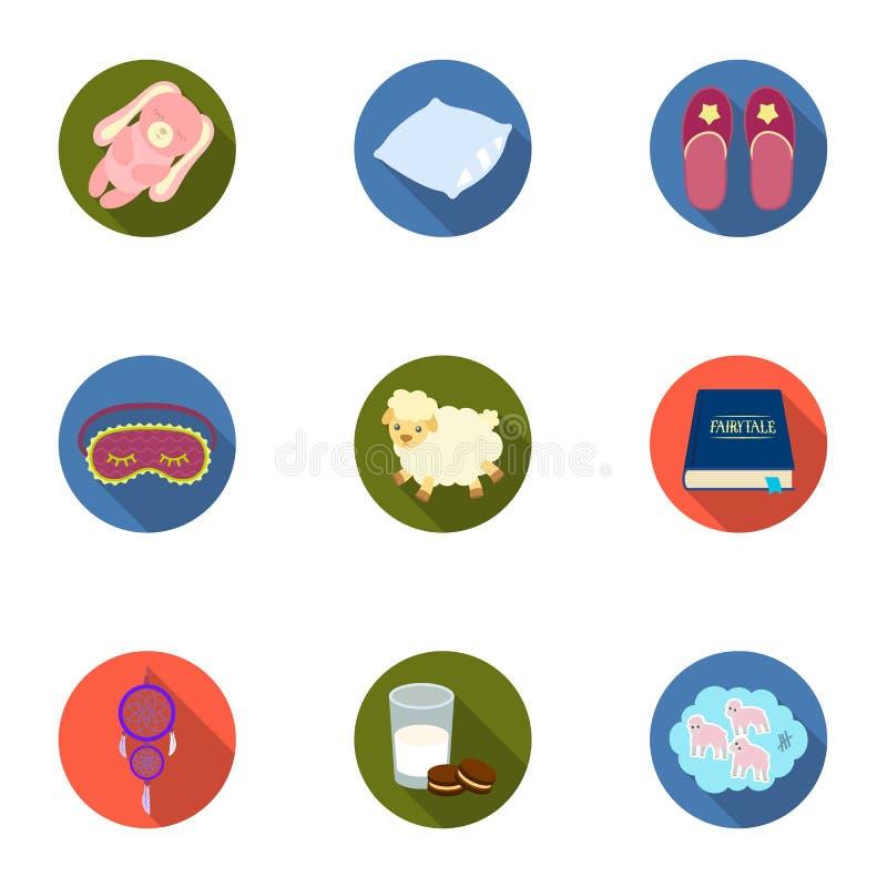 Un ensemble de photos sur un thème un rêve, accessoires de lit de repos pour le restSleep et icône de repos dans la collection d' illustration stock