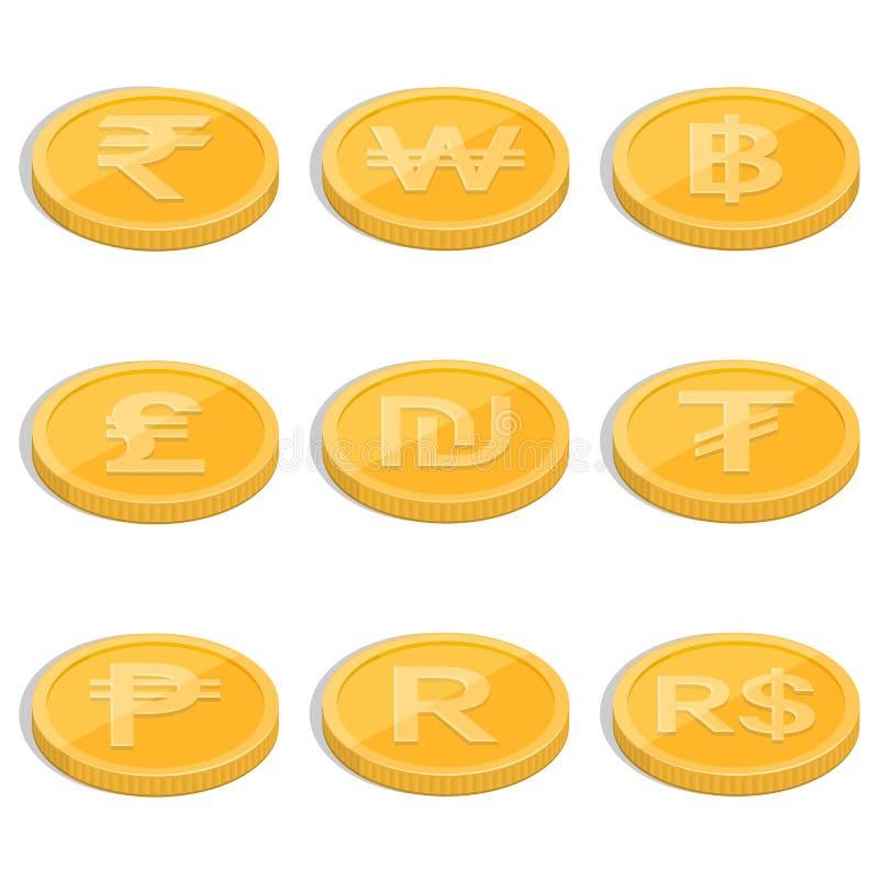 Un ensemble de pièces de monnaie illustration stock