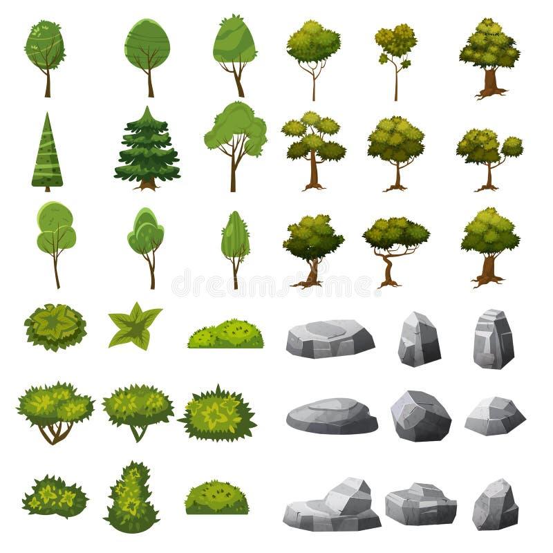 Un ensemble de pierres, d'arbres et de buissons des éléments de paysage pour la conception du jardin, du parc, des jeux et des ap illustration stock