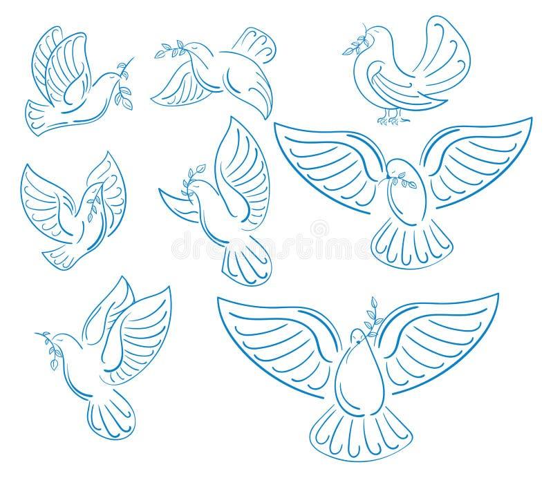 Un ensemble de pigeons du monde avec une branche d'une olive Collection de colombes blanches volantes Logos avec les oiseaux styl illustration de vecteur