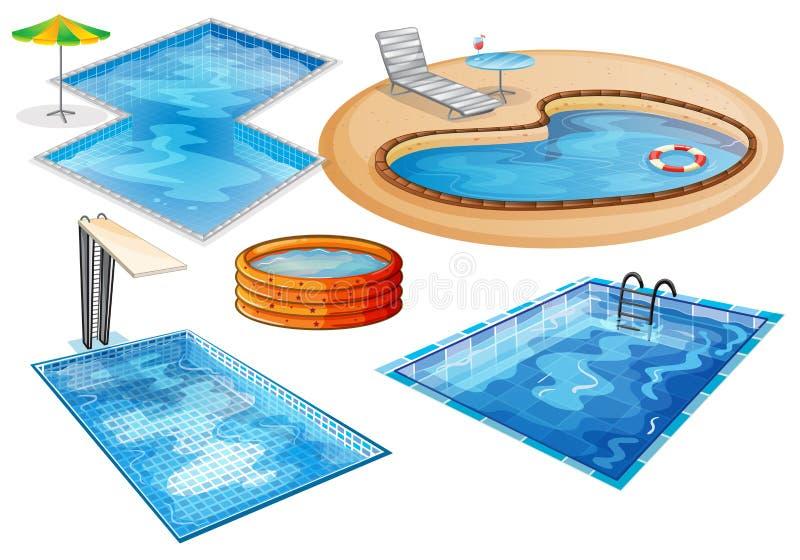 Un ensemble de piscine illustration de vecteur