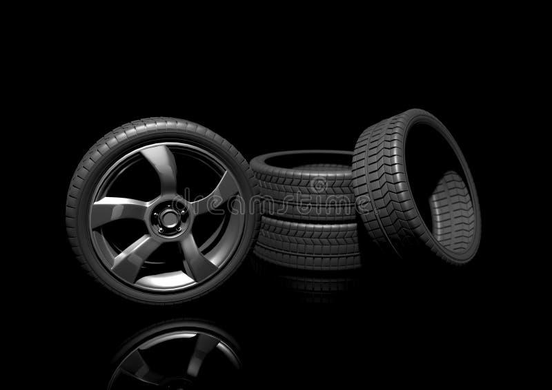Un ensemble de pneus de haute performance illustration libre de droits
