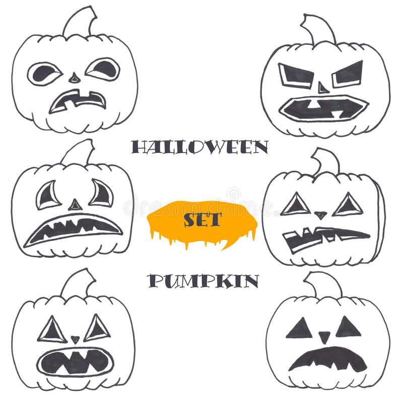 Download Un Ensemble De Potirons Mignons De Halloween Illustration Stock - Illustration du graphismes, fond: 77162056