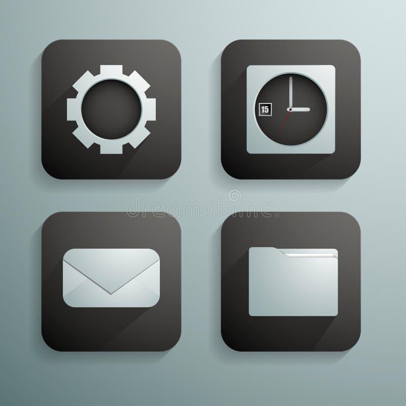 Un ensemble de quatre icônes pour des sites Web et de programmes dans la couleur bleue et noire photos stock