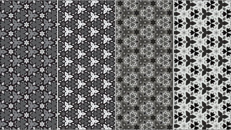 Un ensemble de quatre modèles floraux sans couture de vecteur dans la gamme de gris illustration de vecteur