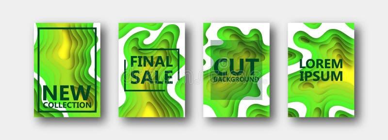 Un ensemble de quatre options pour des bannières, insectes, brochures, cartes, affiches pour votre conception, dans des tons vert illustration de vecteur