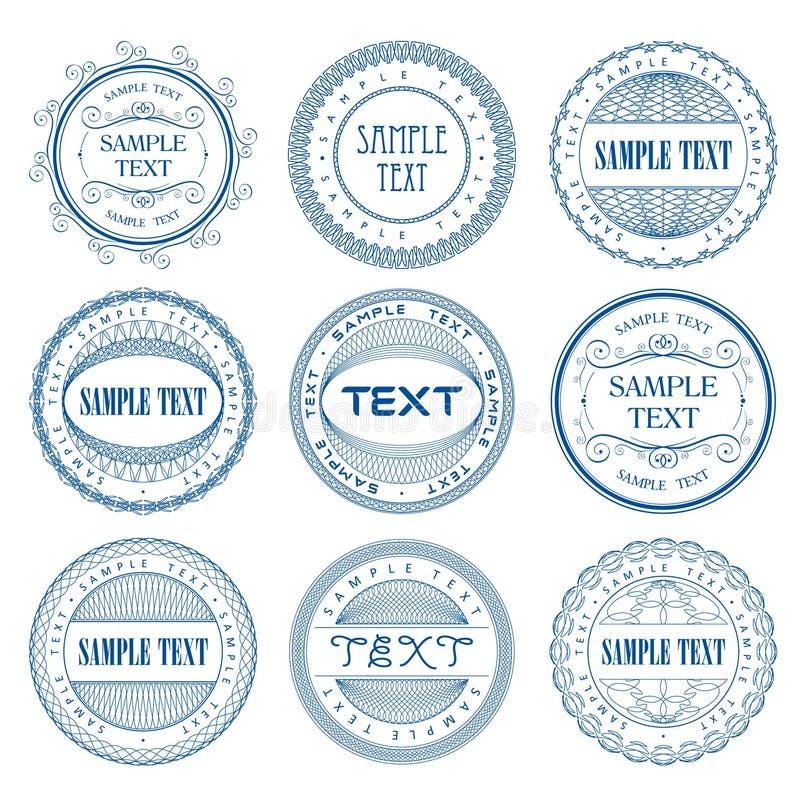 Un ensemble de sceau de guilloche photos libres de droits