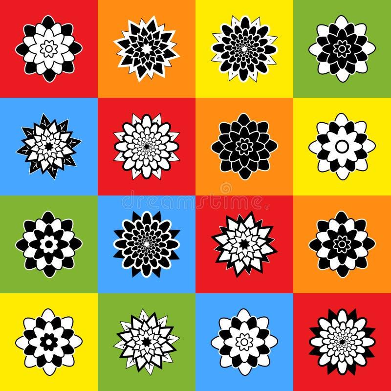 Un ensemble de seize fleurs noires et blanches abstraites sur les places colorées illustration de vecteur