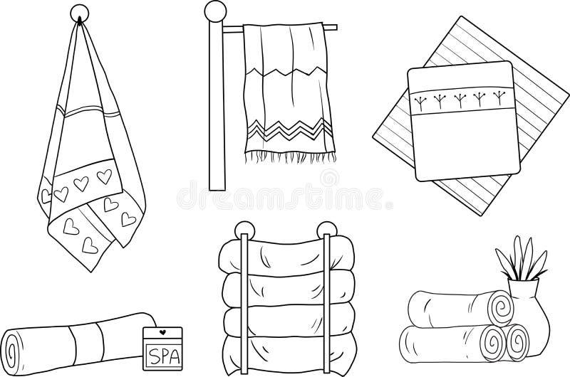 Un ensemble de serviettes linéaires de vecteur illustration libre de droits